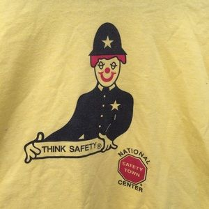 Vintage 90s Clown Cop Safety Town Tee